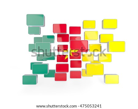 Flag of cameroon, mosaic background. 3D illustration