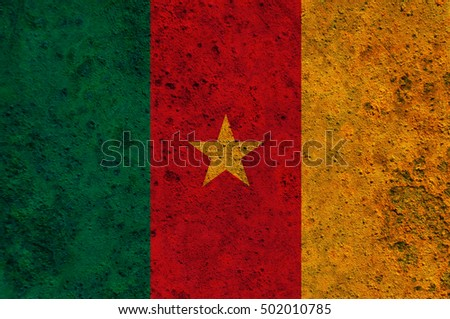 Flag of Cameroon on rusty metal