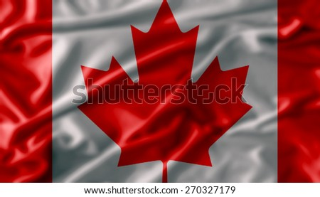 flag of canada , Flag has real fabric texture - stock photo