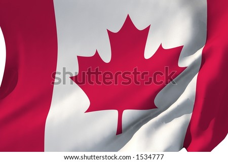 Flag of Canada in the wind. - stock photo