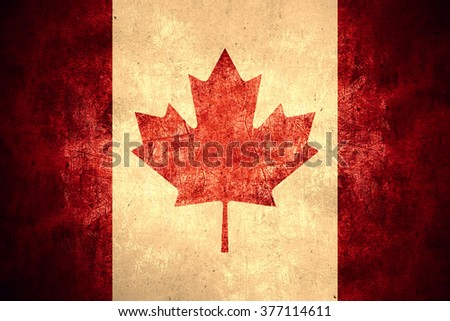 flag of Canada or Canadian on rough pattern texture background