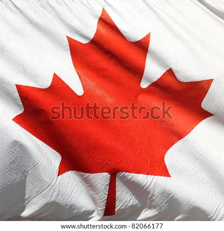 Flag of Canada - Red maple leaf on white background - stock photo