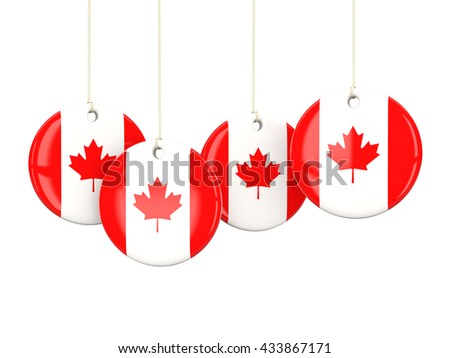 Flag of canada, round labels on white. 3D illustration - stock photo