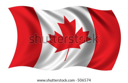 Flag of Canada - waving in the wind - stock photo