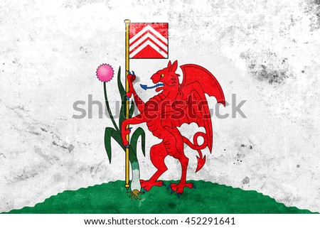 Flag of Cardiff, Wales, UK, with a vintage and old look - stock photo