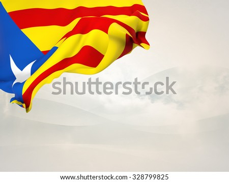 Flag of Catalonia-blue estelada. waving in the corner of a page with stylized background