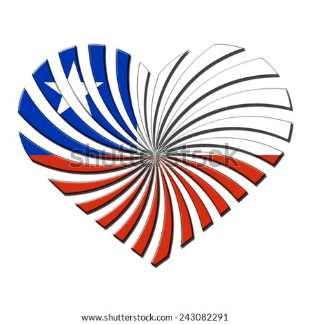 Flag of Chile 3D heart shaped flag - stock photo