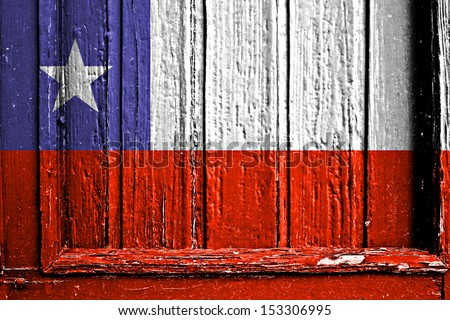 flag of Chile painted on wooden frame - stock photo