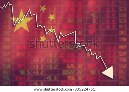 Flag of China. Downtrend stock data diagram vintage color - stock photo