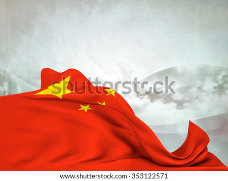 Flag of China moved by the wind, leaving a useful space over abstract waves