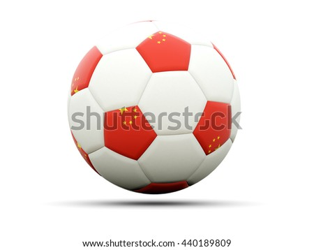 Flag of china on football, isolated on white. 3D illustration