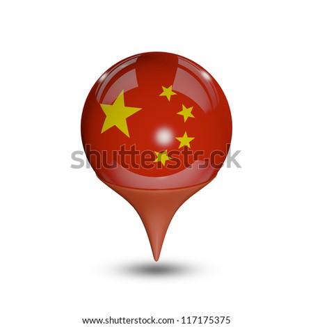 Flag of China pin isolated on white. - stock photo