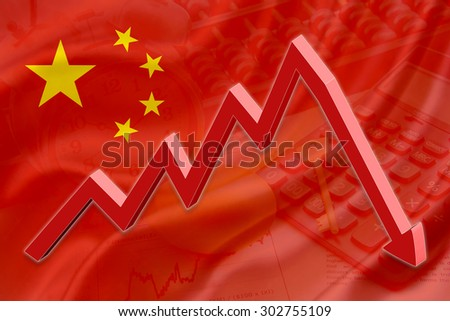 Flag of China with a background of an abacus, a calculator, a clock, a golden key, a golden egg and a red downtrend arrow indicates the stock market enter recession period. - stock photo
