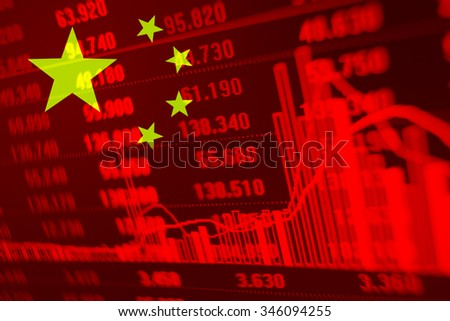 Flag of China with stock data diagram. - stock photo