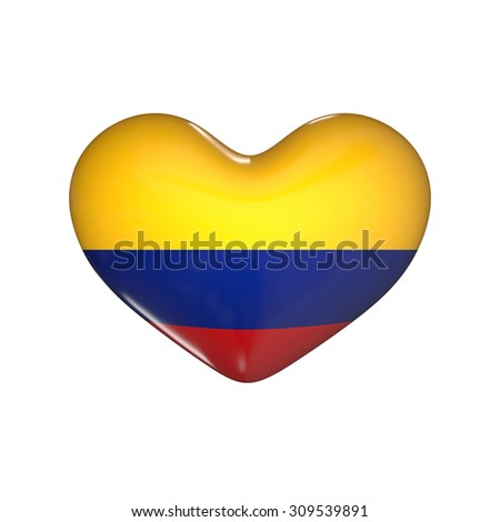 flag of Colombia on the heart. 3d render illustration - stock photo