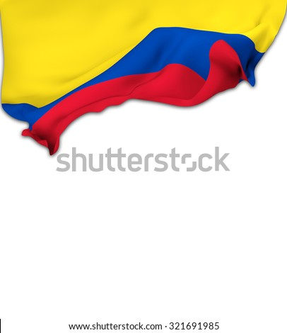 Flag of Colombia waving over a white background