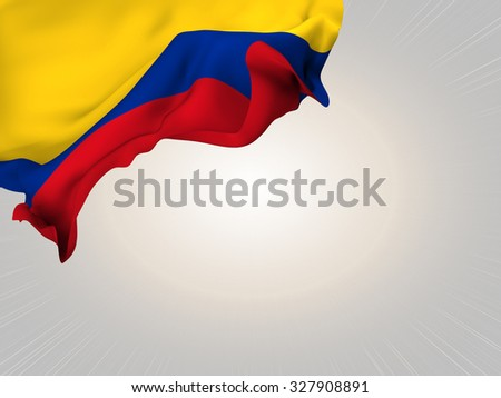 Flag of Colombia waving over corner page with a light spot background