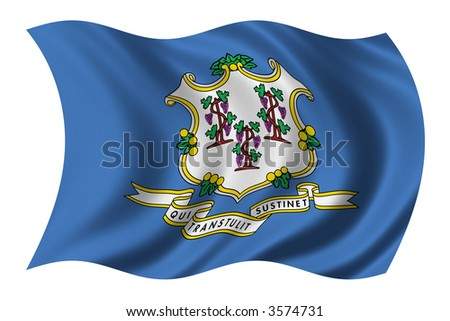 Flag of Connecticut waving in the wind - stock photo