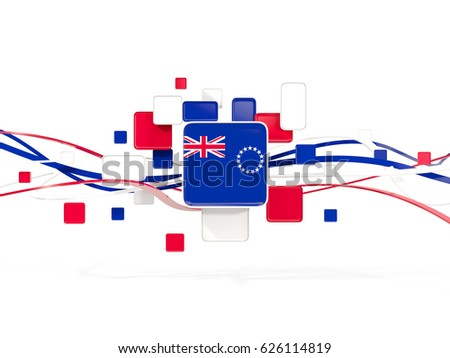 Flag of cook islands, mosaic background with lines. 3D illustration