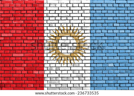 flag of Cordoba Province painted on brick wall