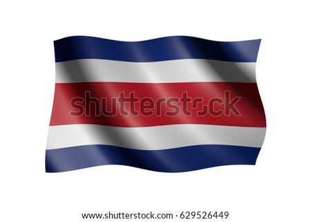 Flag of Costa Rica isolated on white, 3d illustration