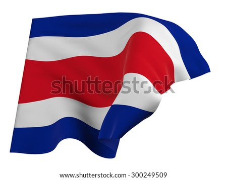 Flag of Costa Rica,isolated, waving in the wind