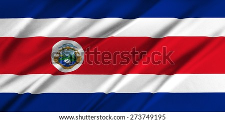 Flag of Costa Rica waving in the wind - stock photo