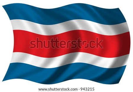 Flag of Costa Rica waving in the wind - including clipping path - stock photo