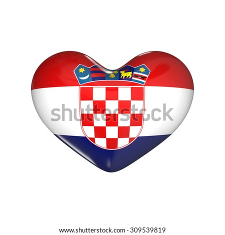 flag of Croatia on the heart. 3d render illustration - stock photo
