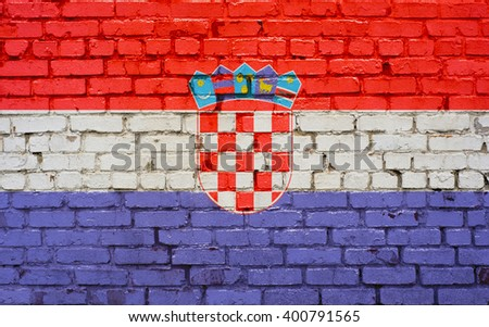 Flag of Croatia painted on brick wall, background texture - stock photo
