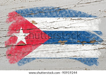 flag of cuba on grunge wooden texture painted with chalk - stock photo