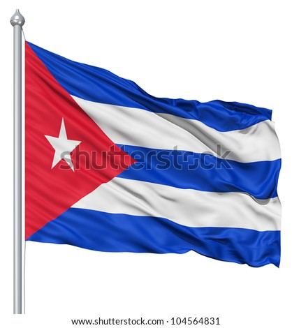 Flag of Cuba with flagpole waving in the wind against white background - stock photo