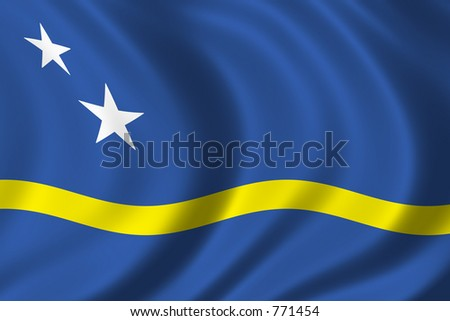 Flag of Curacao waving in the wind - stock photo