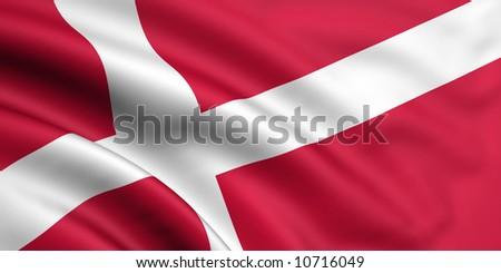 Flag Of Denmark - stock photo
