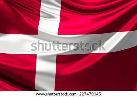 Flag of Denmark. - stock photo