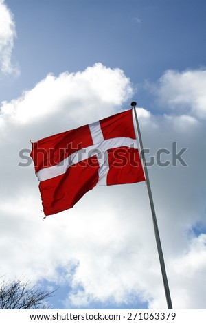 Flag of Denmark - Dannebrog - stock photo