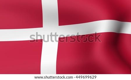 Flag of Denmark, fluttering in the wind. 3D rendering. - stock photo