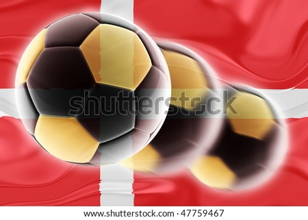 Flag of Denmark, national country symbol illustration wavy sports soccer football - stock photo