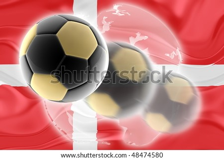 Flag of Denmark, national country symbol illustration wavy sports soccer football org organization website - stock photo
