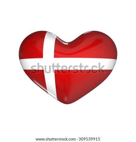 flag of Denmark on the heart. 3d render illustration - stock photo