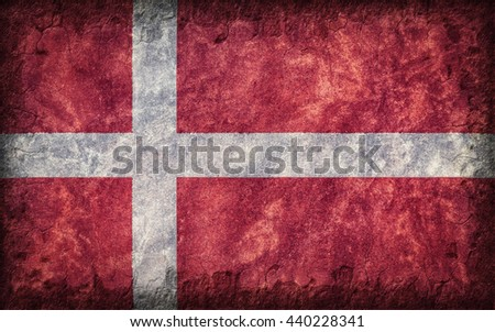 Flag of Denmark painted onto a rough wall - stock photo