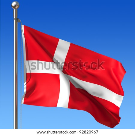 Flag of Denmark waving in the wind against blue sky. Three dimensional rendering illustration. - stock photo