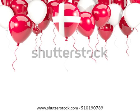 Flag of denmark, with balloons frame isolated on white. 3D illustration