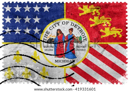 Flag of Detroit, Michigan, old postage stamp