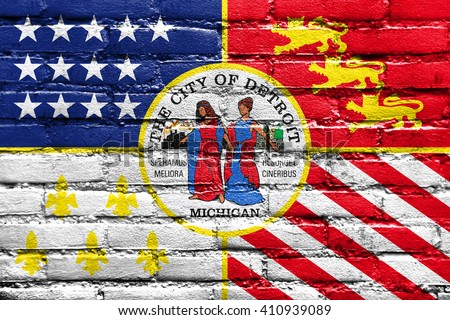 Flag of Detroit, Michigan, painted on brick wall