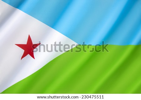 Flag of Djibouti - adopted on 27th June 1977, following independence from France. Light blue represents the Issa Somalis, and the green represents the Afars. Located in the Horn of Africa. - stock photo