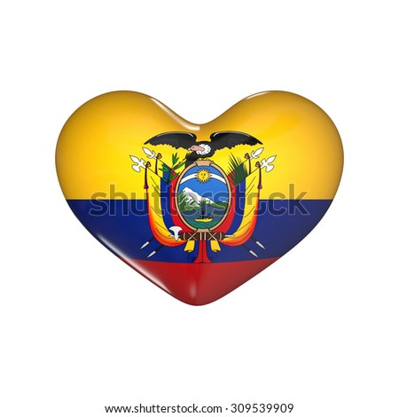 flag of Ecuador on the heart. 3d render illustration - stock photo