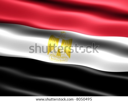 Flag of Egypt, computer generated illustration with silky appearance and waves - stock photo