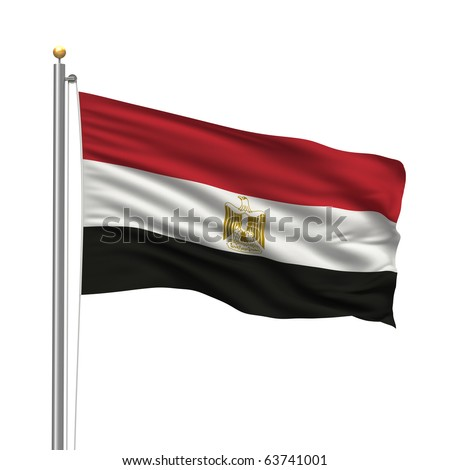 Flag of Egypt with flag pole waving in the wind over white background - stock photo
