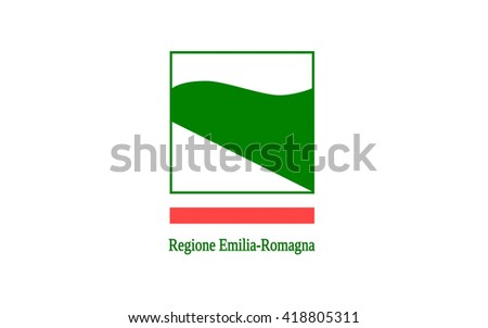 Flag of Emilia-Romagna is an administrative Region of Northern Italy, comprising the historical regions of Emilia and Romagna. Its capital is Bologna - stock photo